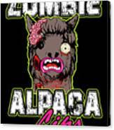 Zombie Alpaca Lips Halloween Pun Llama Alpacalypse Dark Canvas Print