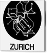 Zurich Black Subway Map Canvas Print