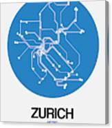 Zurich Blue Subway Map Canvas Print