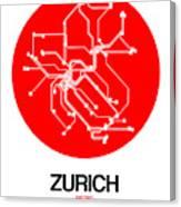 Zurich Red Subway Map Canvas Print