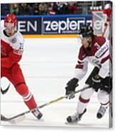 2016 IIHF Ice Hockey World Championship Group Stage: Denmark vs Latvia Canvas Print