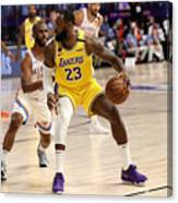Chris Paul and Lebron James Canvas Print