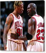 Dennis Rodman and Michael Jordan Canvas Print