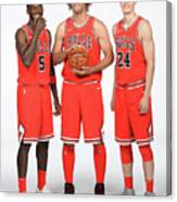 Lauri Markkanen, Bobby Portis, and Robin Lopez Canvas Print