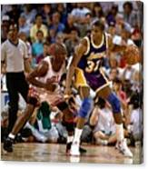 Magic Johnson and Michael Jordan Canvas Print