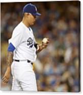 Miami Marlins v Los Angeles Dodgers Canvas Print