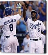 Mike Moustakas And Lorenzo Cain Canvas Print