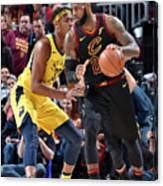Myles Turner and Lebron James Canvas Print