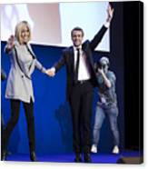 Presidential Candidate Emmanuel Macron Hosts A Meeting At Parc Des Expositions In Paris Canvas Print