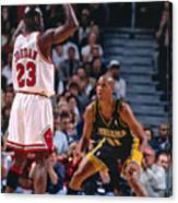 Reggie Miller and Michael Jordan Canvas Print