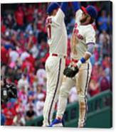 Rhys Hoskins And Bryce Harper Canvas Print