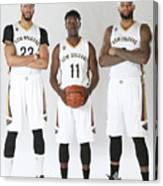 Demarcus Cousins, Jrue Holiday, and Anthony Davis Canvas Print