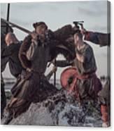 A Hoard Of Weapon Wielding Viking Warriors Fighting In A Battlefield Scene In The Sea Canvas Print