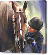 A Secret Shared Hunter Horse With Girl Canvas Print