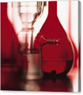 A Series Of Red Flasks And Beakers Stand On A Shiny Table With A White Background Canvas Print
