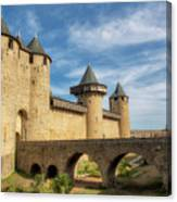Access Bridge To The Medieval Village Of Carcassonne Canvas Print