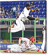 Adeiny Hechavarria and Chase Utley Canvas Print