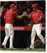 Albert Pujols, Andrelton Simmons, and Mike Trout Canvas Print