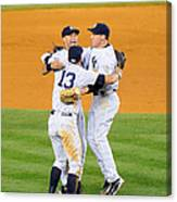 Alex Rodriguez, Mark Teixeira, And Derek Jeter Canvas Print