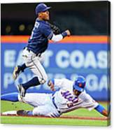 Alexi Amarista and Curtis Granderson Canvas Print