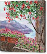 Amalfi Coast Ravello Mediterranean Sea Shore With Flowers Watercolor  Canvas Print