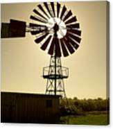 American-style windmill in backlight Canvas Print