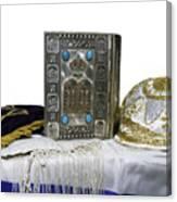 Antique Jewish Bible, Yarmulka & Tallis Canvas Print