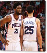 Ben Simmons and Joel Embiid Canvas Print
