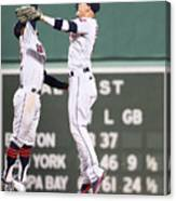 Brandon Guyer And Francisco Lindor Canvas Print