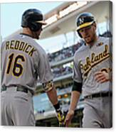 Brandon Moss and Josh Reddick Canvas Print