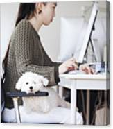 Business Woman Working At Office With Dog Canvas Print