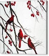 Cardinals And Crabapples Canvas Print