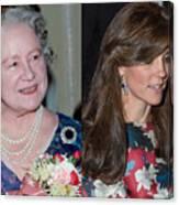 Catherine, Duchess of Cambridge Wears Queen Mother Earrings Canvas Print