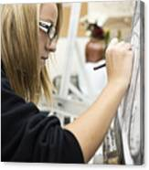Caucasian girl painting Canvas Print