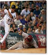 Charlie Culberson and Martin Prado Canvas Print