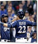 Christian Yelich And Lorenzo Cain Canvas Print