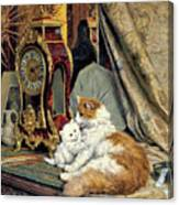 Clock, Mother Cat and Kitten - Digital Remastered Edition Canvas Print