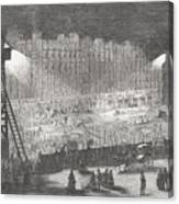 Construction of the Rivoli street (Paris), electric lighting, 19th century Canvas Print