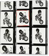Contact Sheet of Marsha Hunt with a Motorbike Canvas Print