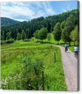 Cyclists By The Lake Schluchsee Canvas Print