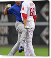 Darwin Barney and Chase Utley Canvas Print