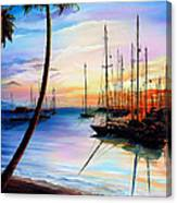 DAYS END  Yachting Regatta At Pigeon Point Tobago Canvas Print