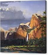 Deer Meadow Mountains Western stream Deer waterfall Landscape Oil Painting stormy sky snow scene Canvas Print