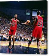 Dennis Rodman and Michael Jordan Canvas Print