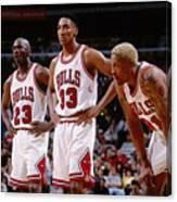 Dennis Rodman, Scottie Pippen, and Michael Jordan Canvas Print
