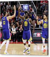 Draymond Green, Stephen Curry, and Andrew Bogut Canvas Print