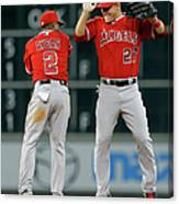 Erick Aybar and Mike Trout Canvas Print