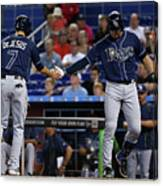Evan Longoria and David Dejesus Canvas Print