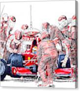 Ferrari a boxes, pits, Original handmade drawing Canvas Print
