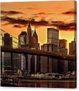 Fiery Sunset Over Manhattan  Canvas Print